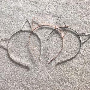 Three cat ear headbands